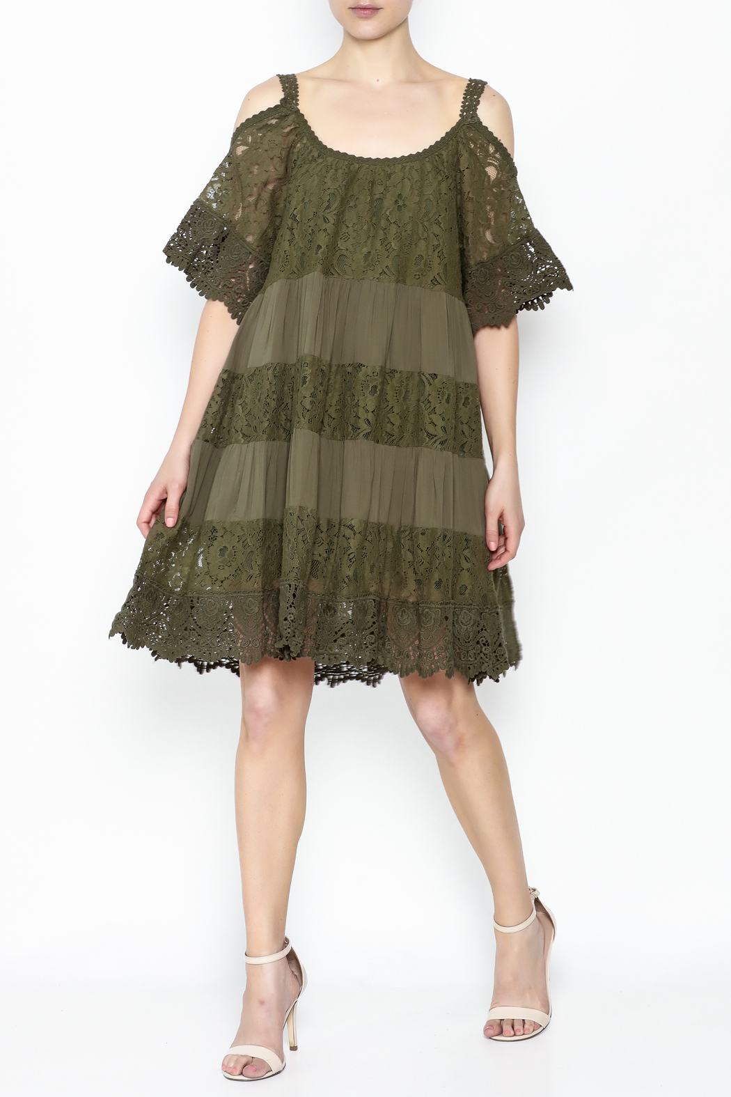 Muche et Muchette Lace Dress Army Green - Main Image