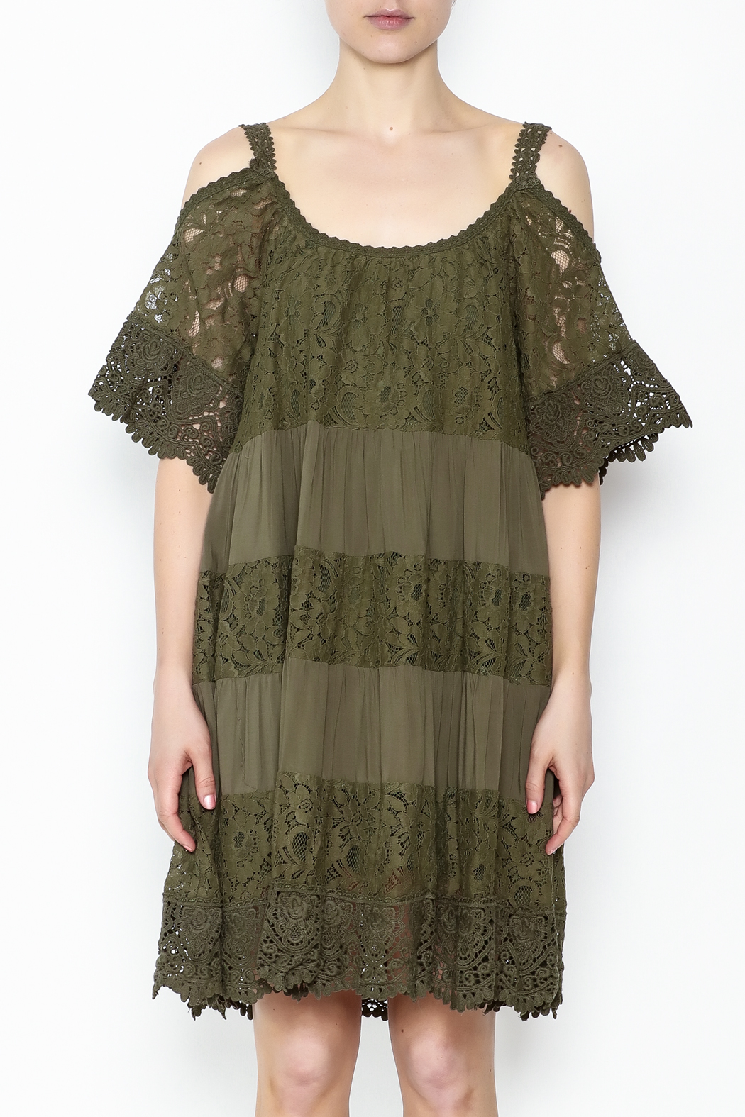Muche et Muchette Lace Dress Army Green - Front Full Image
