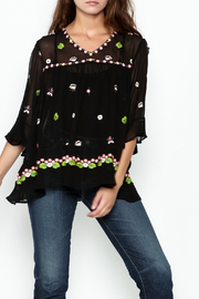 Muche et Muchette Sheer Flower Embroidered Top - Product Mini Image