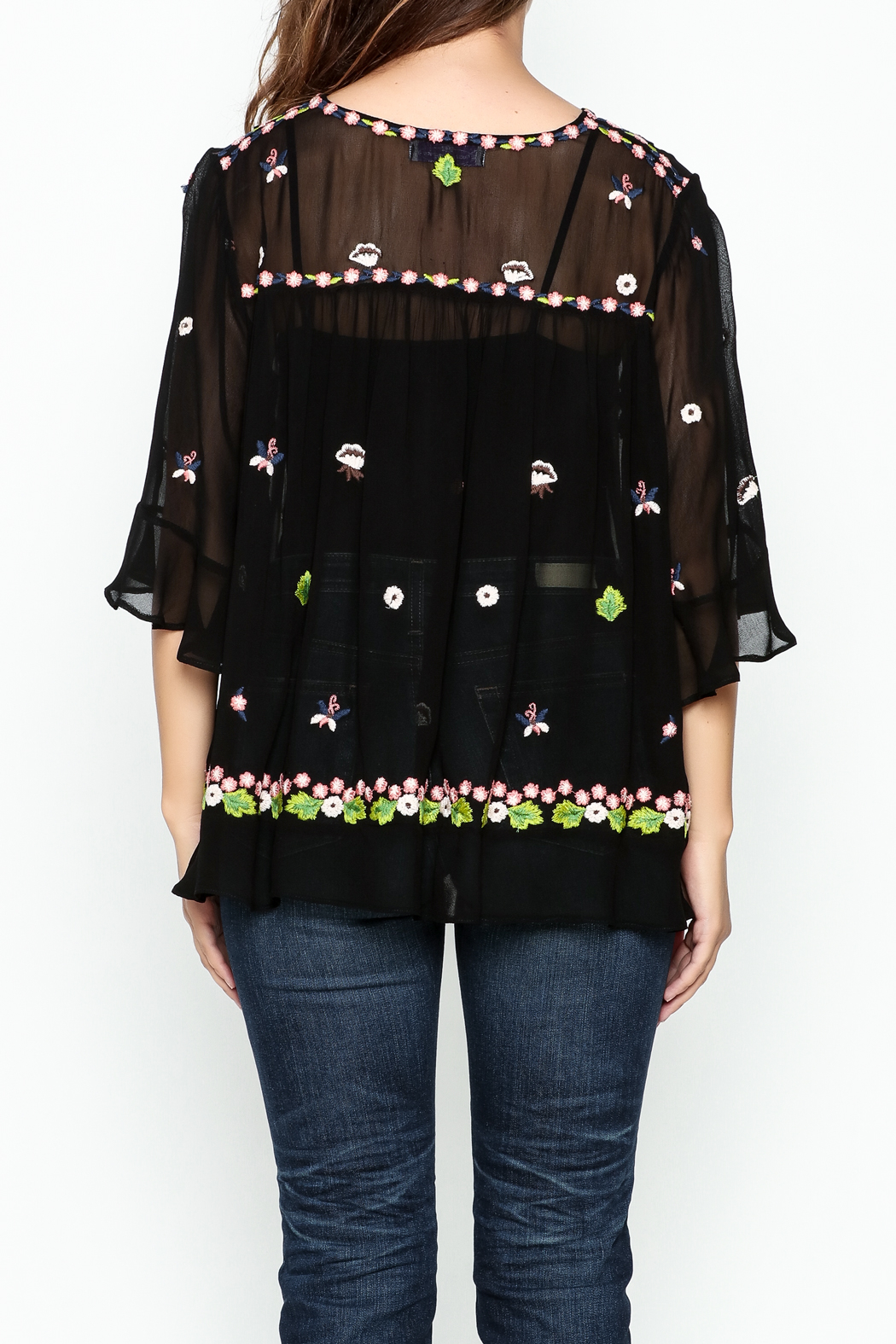 Muche et Muchette Sheer Flower Embroidered Top - Back Cropped Image