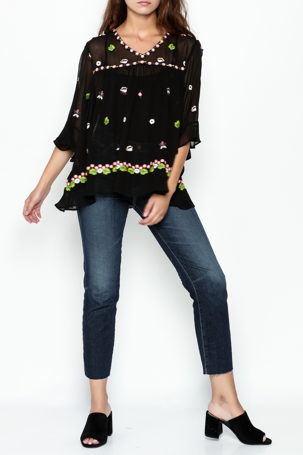 Muche et Muchette Sheer Flower Embroidered Top - Side Cropped Image