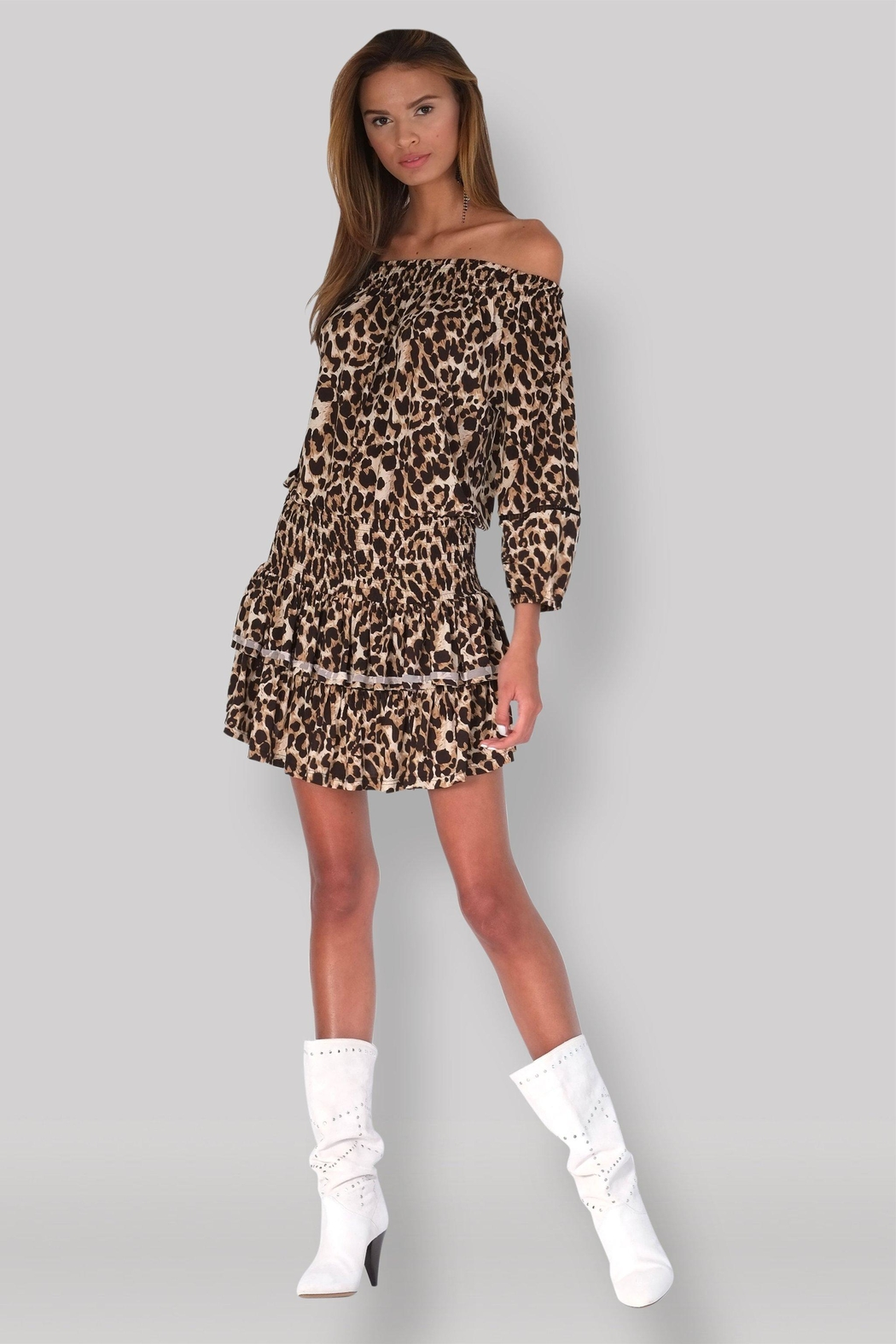 Muche et Muchette Ellyn Dress - Leopard - Back Cropped Image