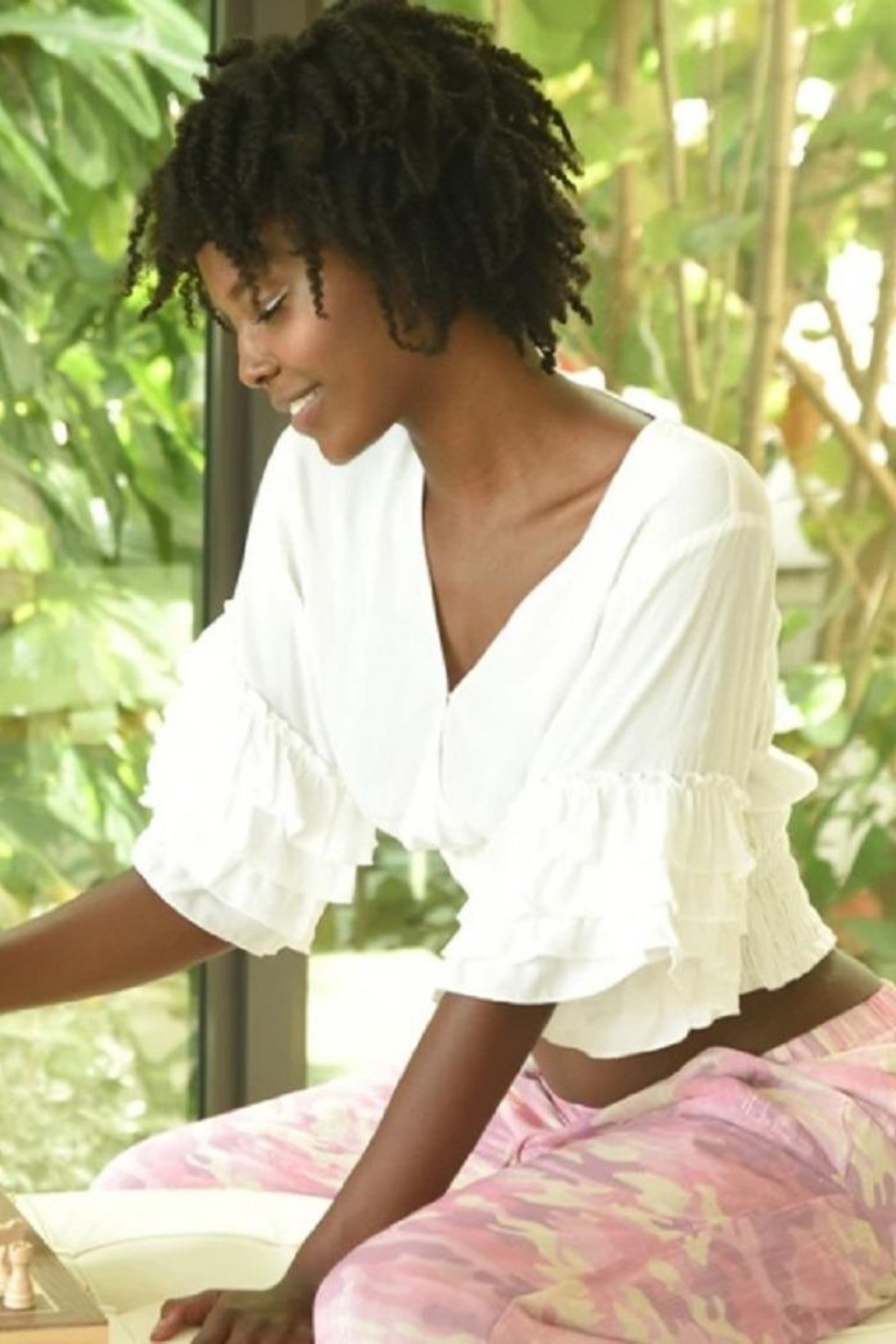 Muche et Muchette White Ruffle Sleeves Top - Main Image