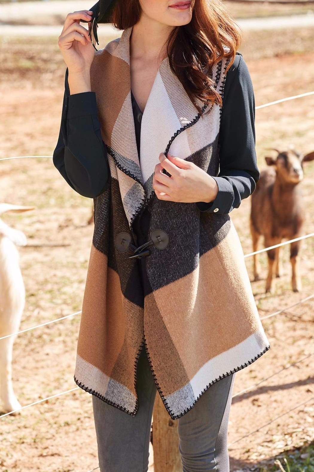 Mud Pie Berkley Blanket Vest - Front Cropped Image