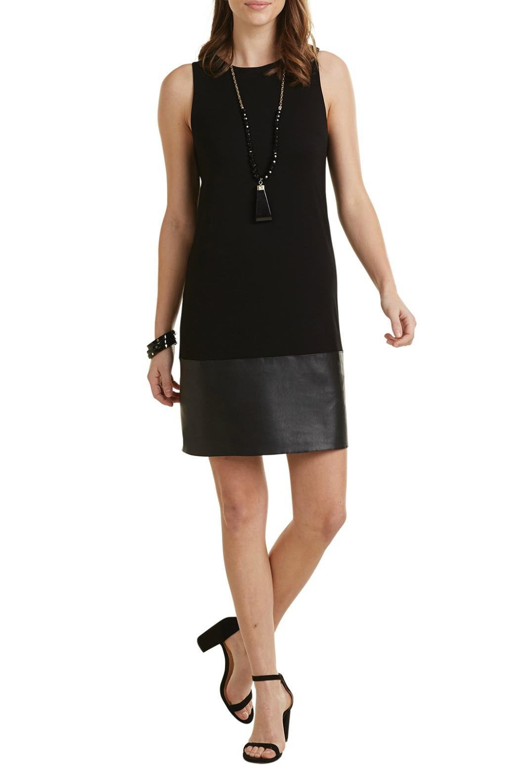 Mud Pie Black Leather Shift Dress - Main Image