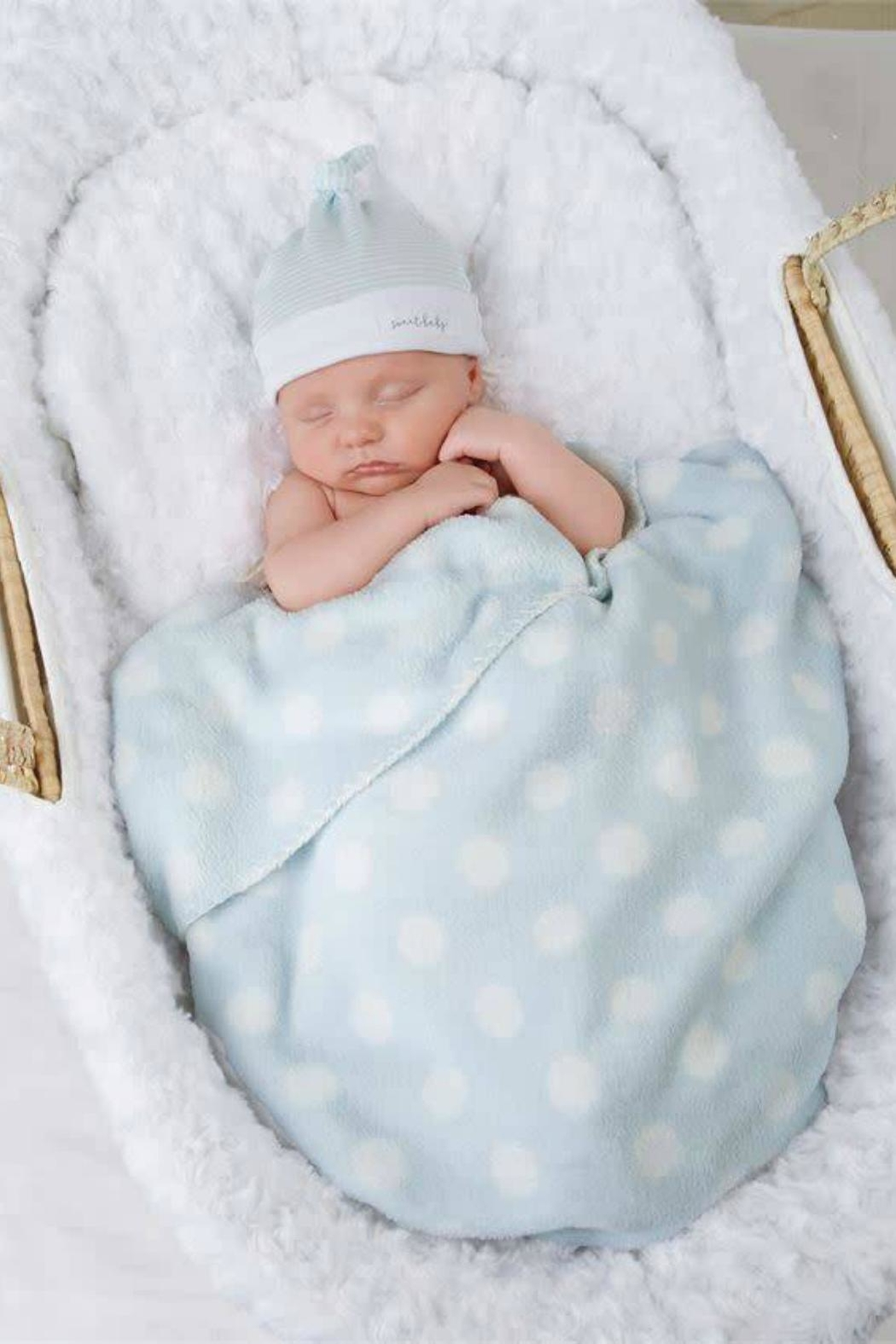 Mud Pie Blue-Dot Blanket-Hat Set - Front Cropped Image