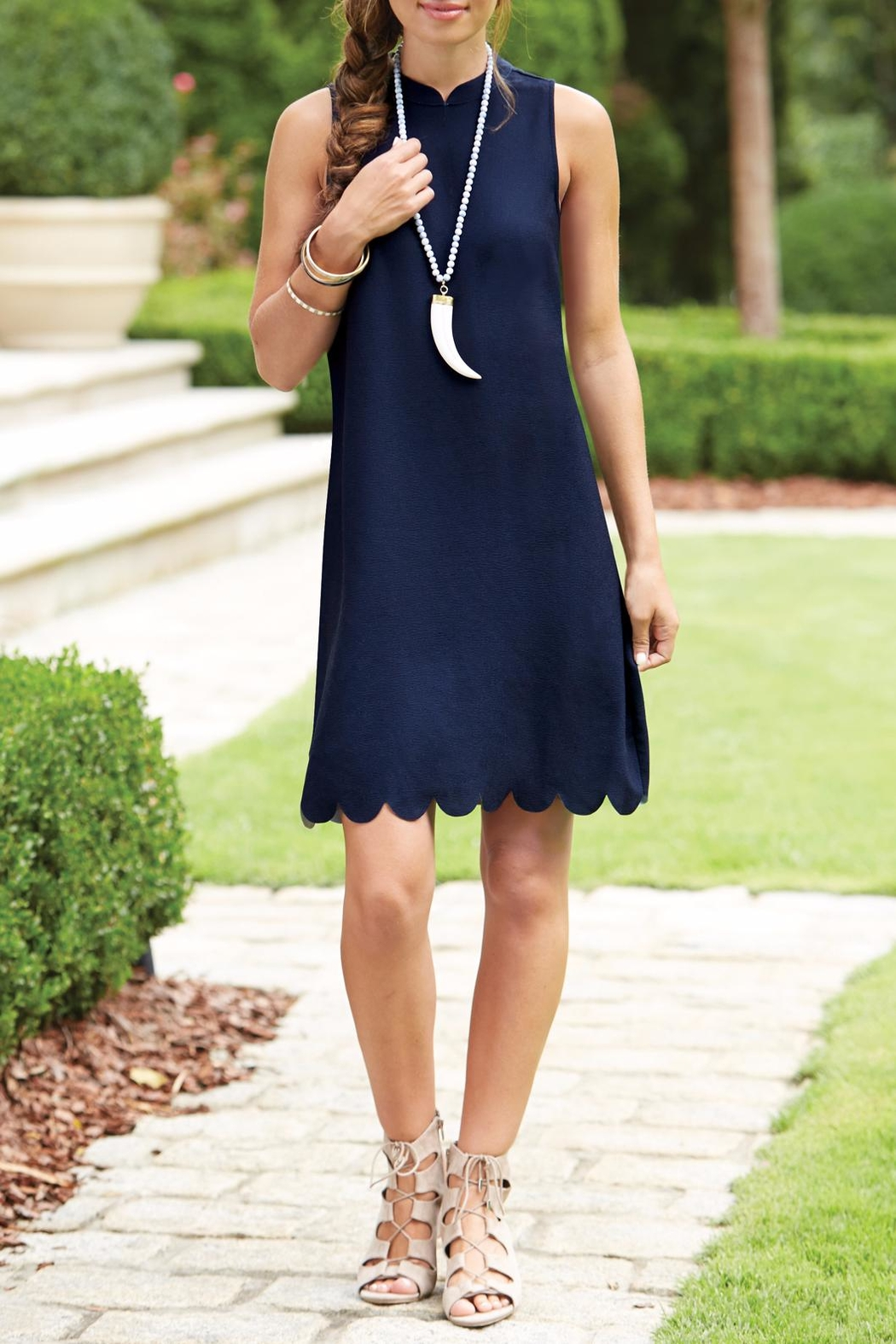 Mud Pie Britain Scalloped Dress - Front Cropped Image