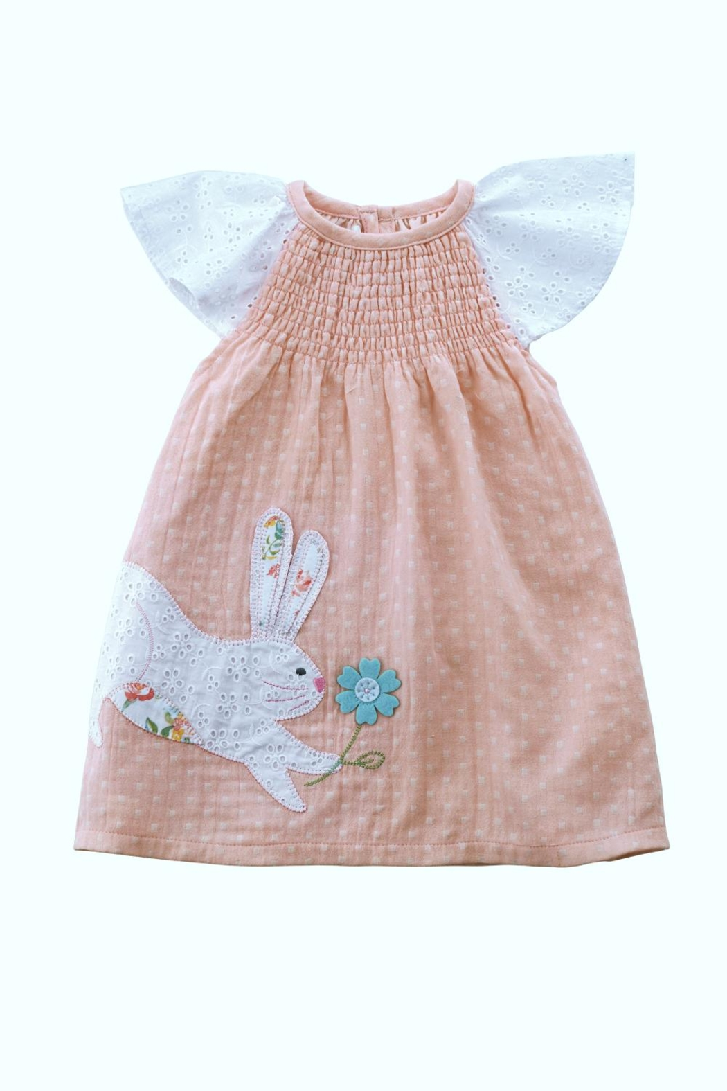 Mud Pie Bunny Smocked Dress - Front Cropped Image