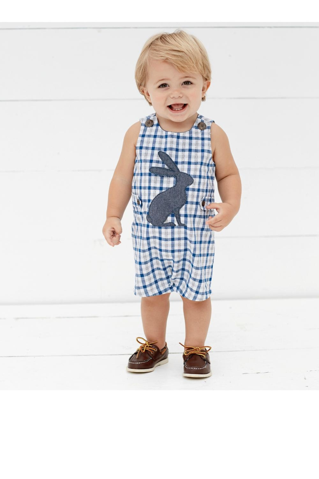 Mud Pie Easter Gingham Shortall - Main Image