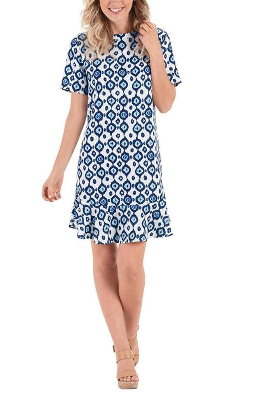Mud Pie Navy Ikat Dress - Front Cropped Image