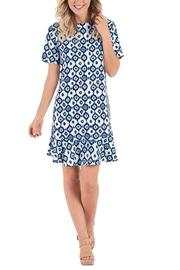 Mud Pie Navy Ikat Dress - Front cropped