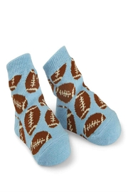 Mud Pie Football Infant Socks - Front cropped