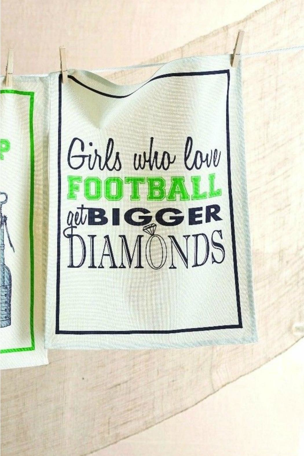 Mud Pie Girls-Football-Diamonds Dish Towel - Front Cropped Image