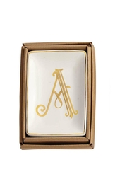 Mud Pie Gold A-Initial Dish - Front cropped
