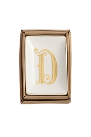 Mud Pie Gold D-Initial Dish - Front cropped