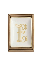 Mud Pie Gold E-Initial Dish - Front cropped