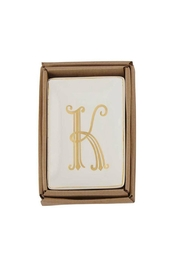 Mud Pie Gold K-Initial Dish - Front cropped