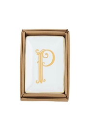 Mud Pie Gold P-Initial Dish - Front cropped