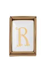Mud Pie Gold R-Initial Dish - Product Mini Image
