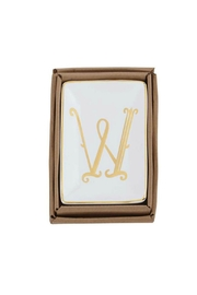 Mud Pie Gold W-Initial Dish - Front cropped