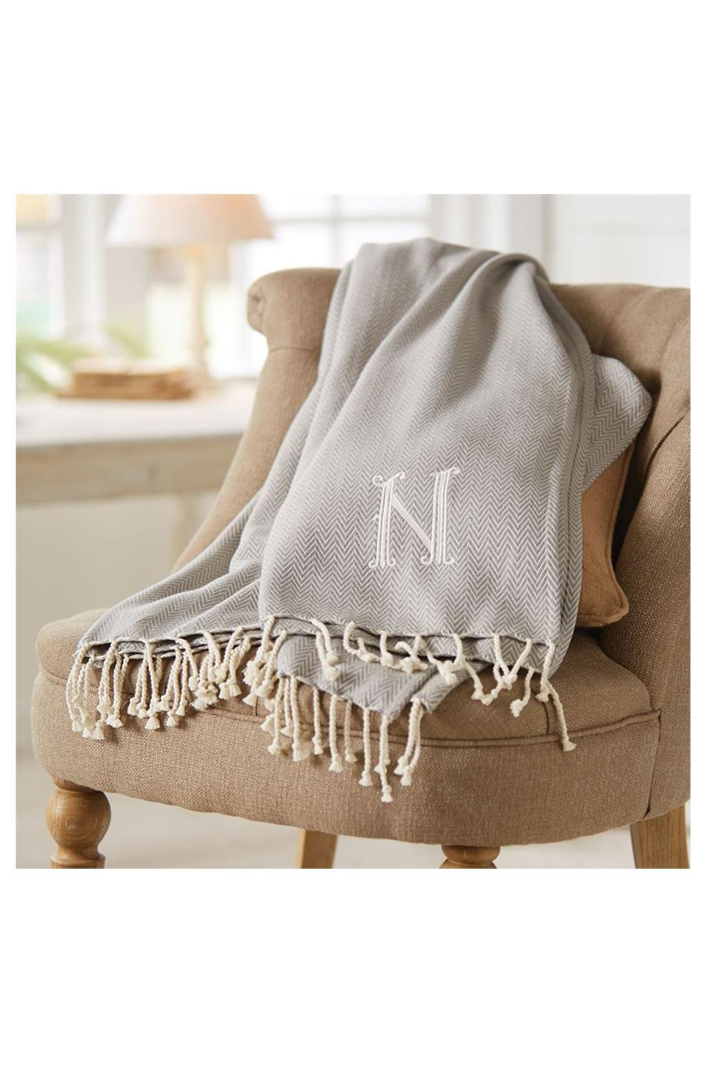 Mud Pie Herringbone Initial Blanket - Side Cropped Image