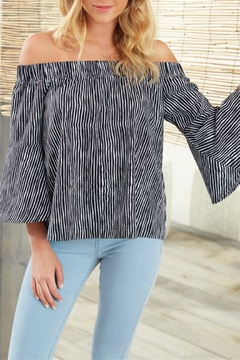 Shoptiques Product: Izzy Striped Off-Shoulder