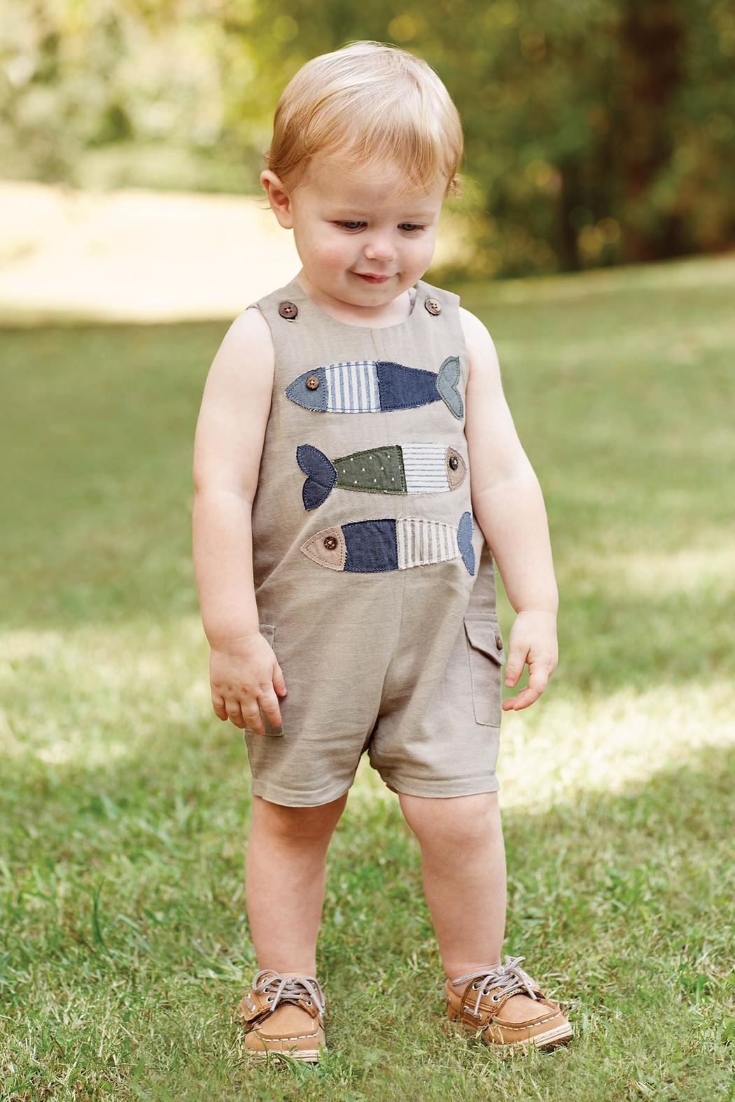 Mud Pie Khaki Fish Shortall - Front Cropped Image
