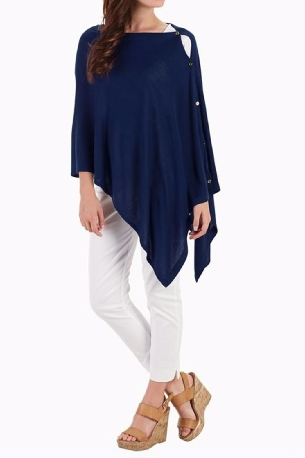 Mud Pie Navy Blue Poncho - Front Full Image