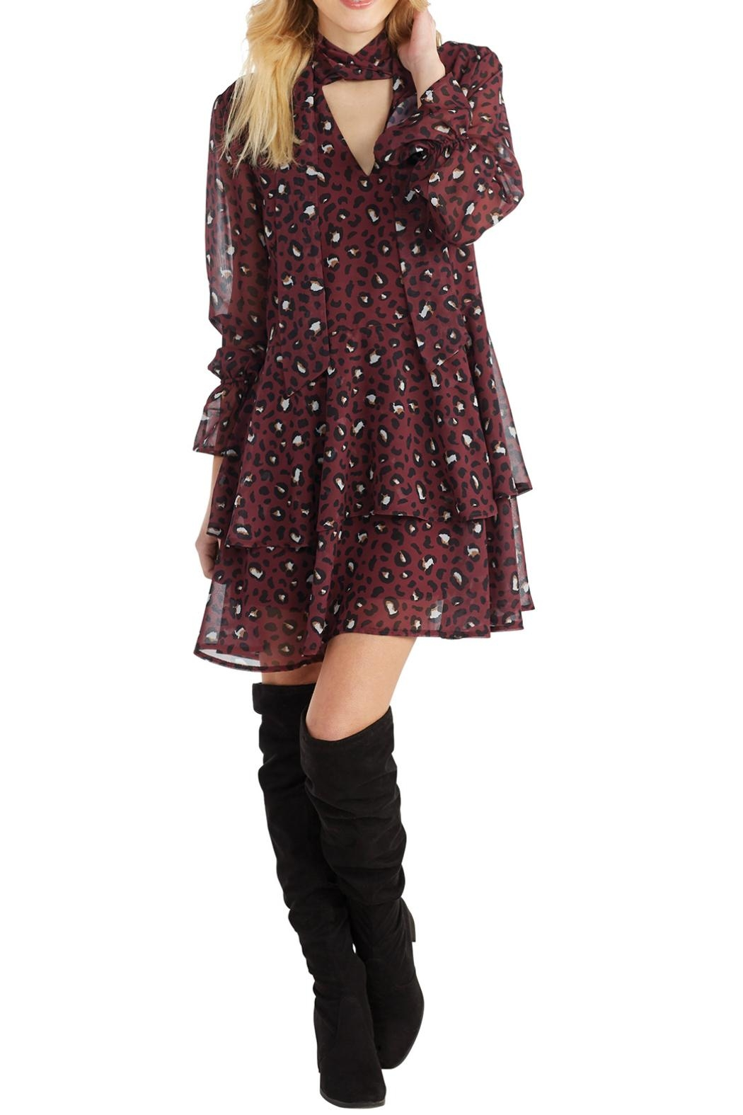 Mud Pie Leopard-Print Flounce Dress - Front Cropped Image