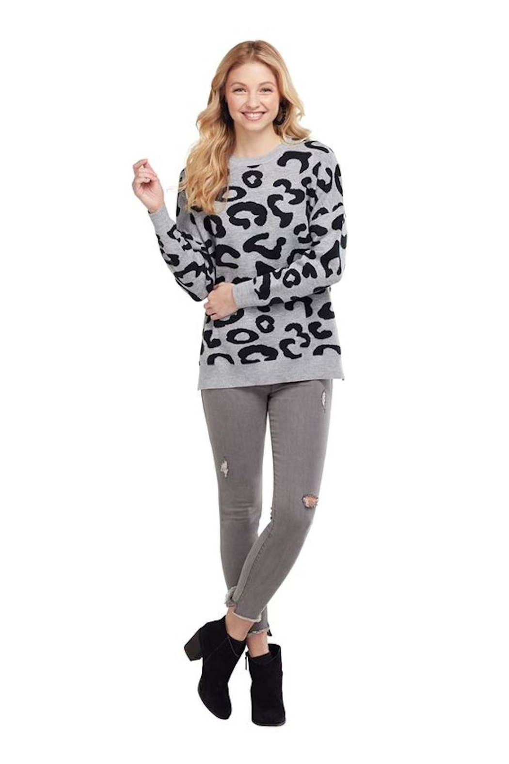 Mud Pie Leopard Sweater - Front Cropped Image