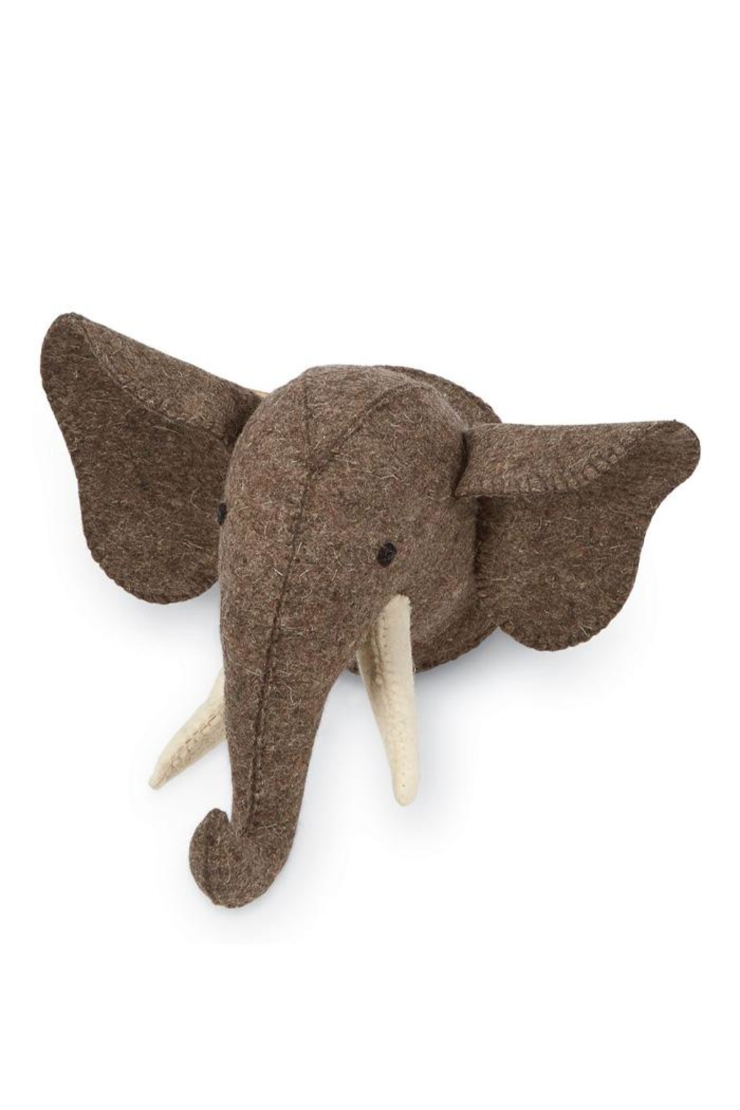 Mud Pie Mini Safari Elephant Wool Wall Mount - Front Cropped Image