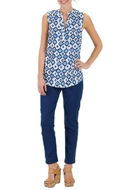 Mud Pie Navy Ikat Blouse - Product Mini Image