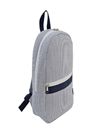Mud Pie Navy Seersucker Backpack - Front cropped