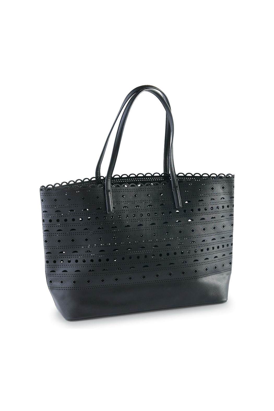 Mud Pie Perforated Black Tote - Front Cropped Image