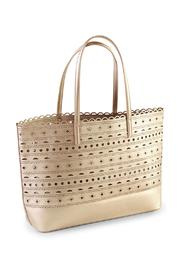 Mud Pie Perforated Gold Tote Bag - Product Mini Image