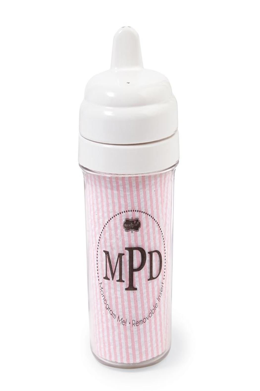 Mud Pie Pink Seersucker Sippy-Cup - Front Cropped Image