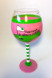 Mud Pie Golf Themed Wine Glass - Product Mini Image