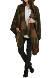 Mud Pie Plaid Blanket Poncho - Front cropped