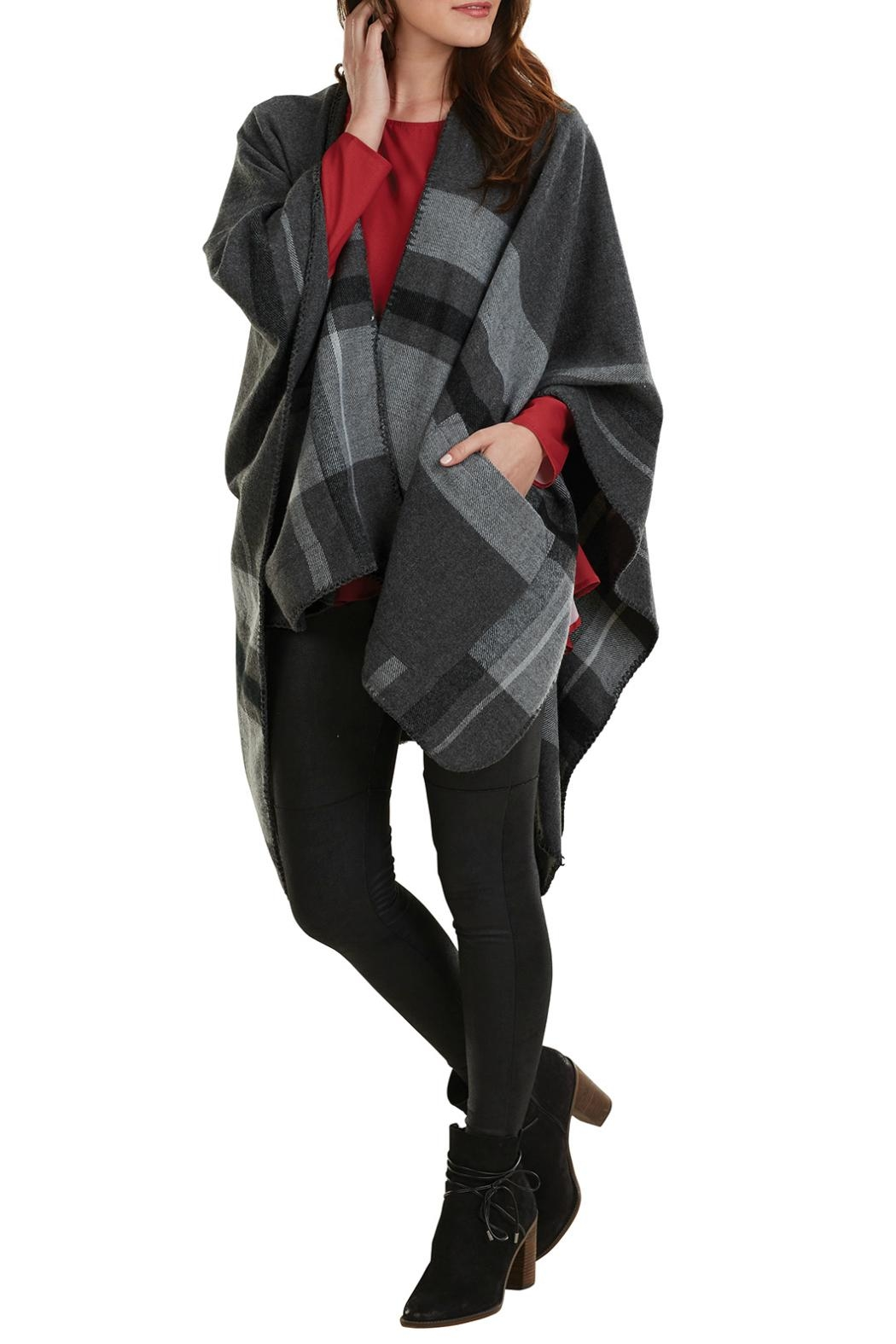 Mud Pie Plaid Blanket Poncho - Front Cropped Image