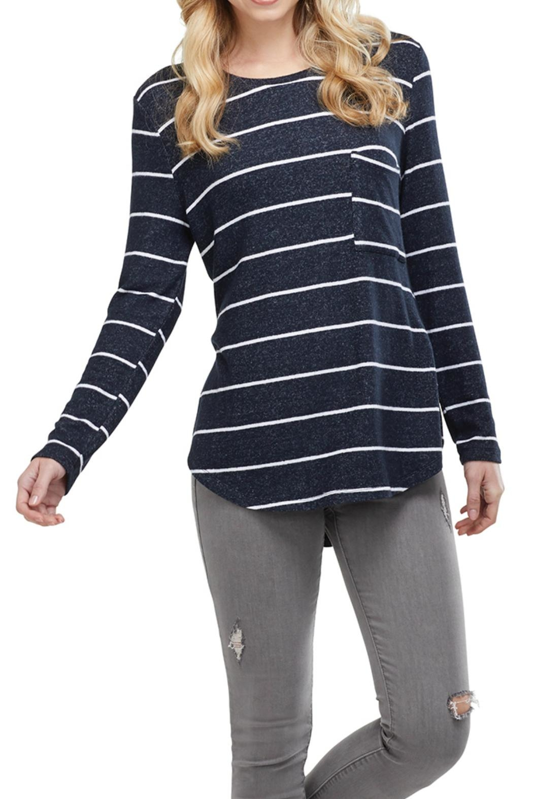 Mud Pie Pocket Long-Sleeve Tee - Front Cropped Image