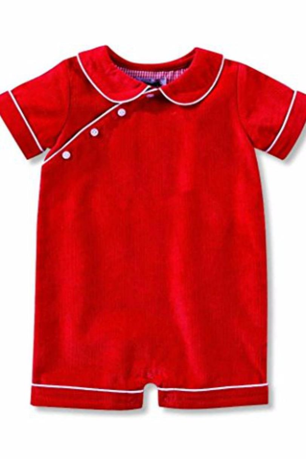 Mud Pie Red Corduroy Romper - Front Full Image