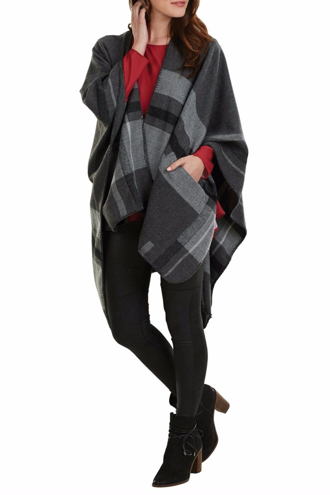 Mud Pie Rivington Plaid Wrap - Front Full Image