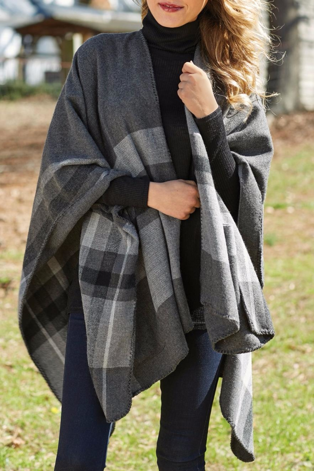 Mud Pie Rivington Plaid Wrap - Front Cropped Image