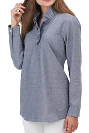 Mud Pie Ruffle-Neck Chambray Tunic - Front full body