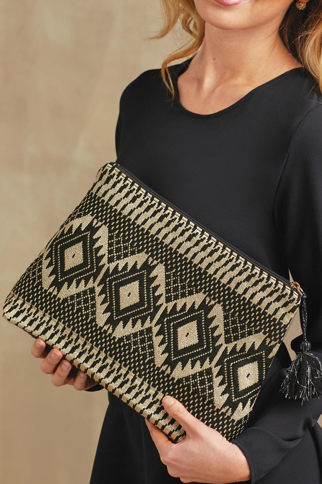 Mud Pie Shimmery Jacquard Clutch - Main Image