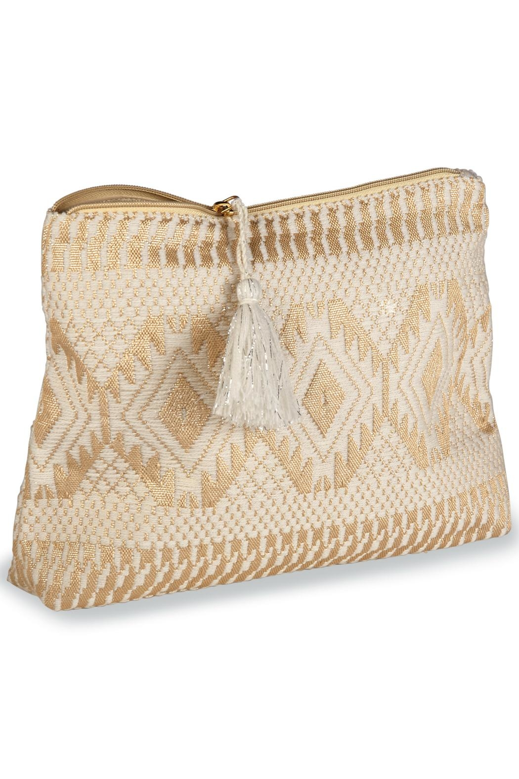 Mud Pie Shimmery Jacquard Clutch - Front Cropped Image