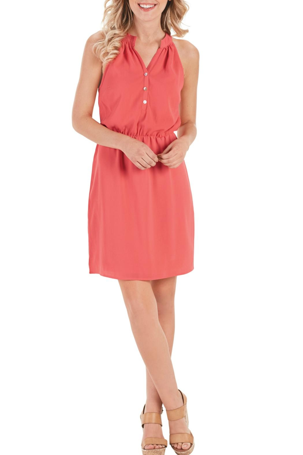 Mud Pie Sleeveless Coral Dress - Front Cropped Image