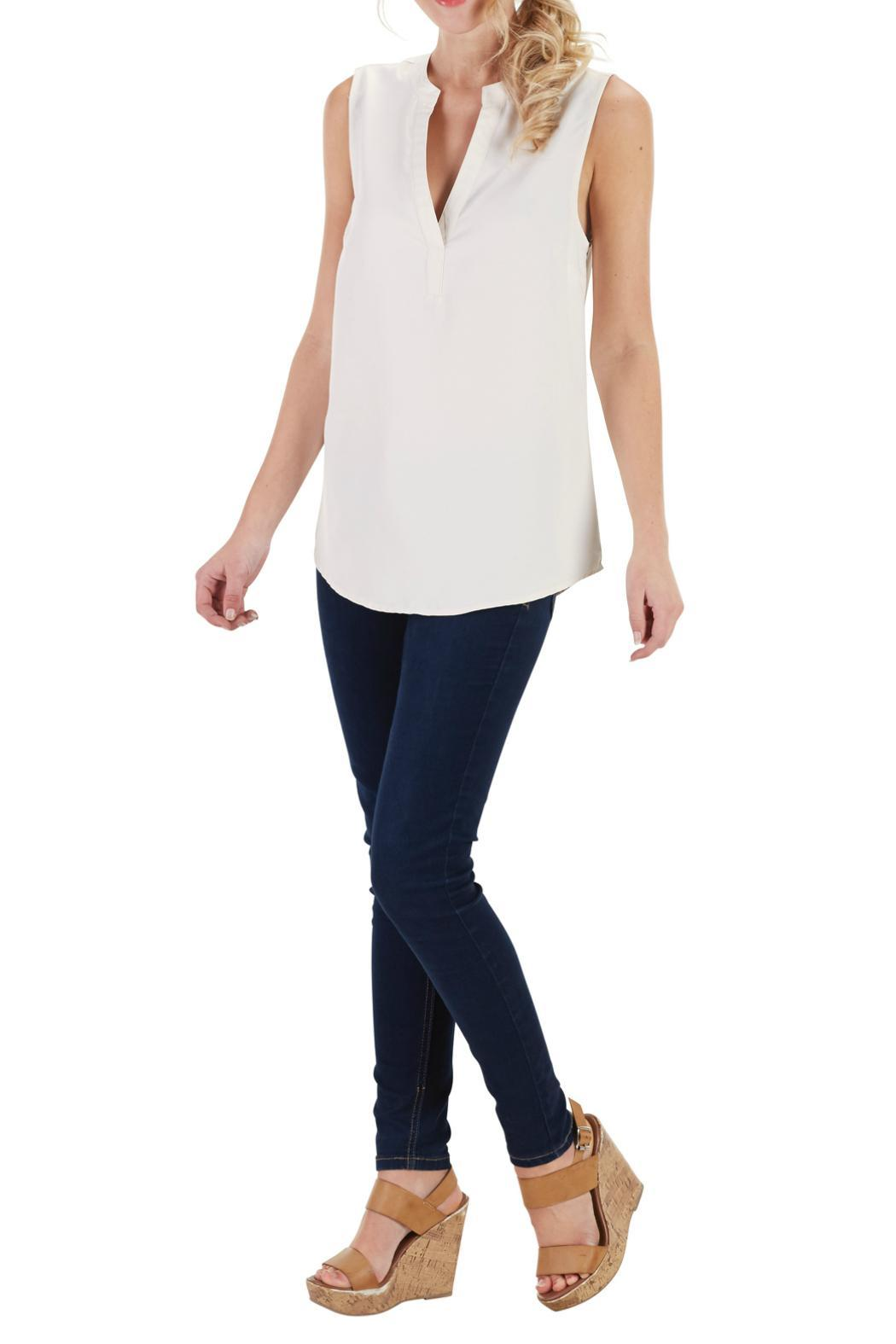 Mud Pie Sleeveless V Neck Blouse - Front Cropped Image