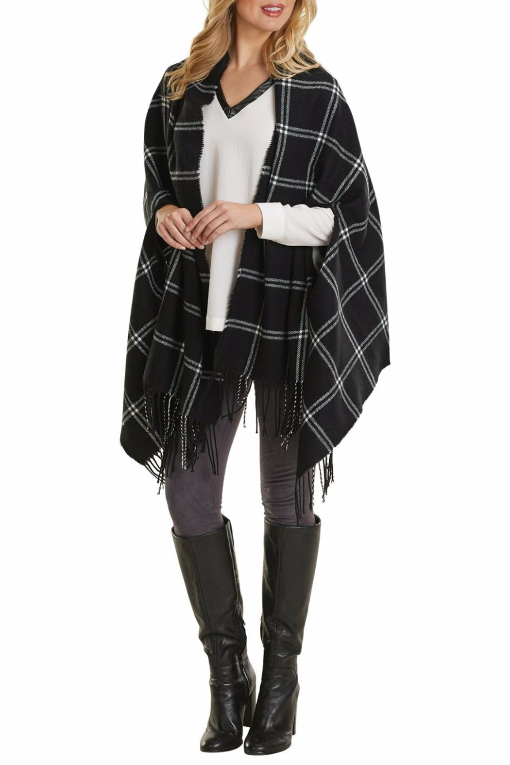 Mud Pie Ava Plaid Wrap - Front Full Image