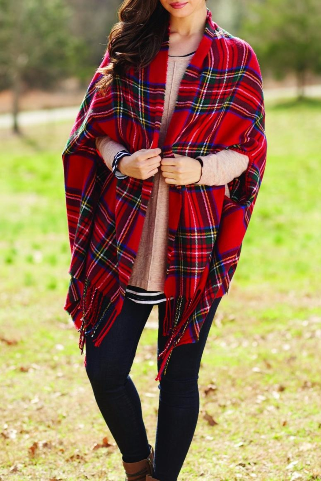 Mud Pie Ava Plaid Wrap - Front Cropped Image